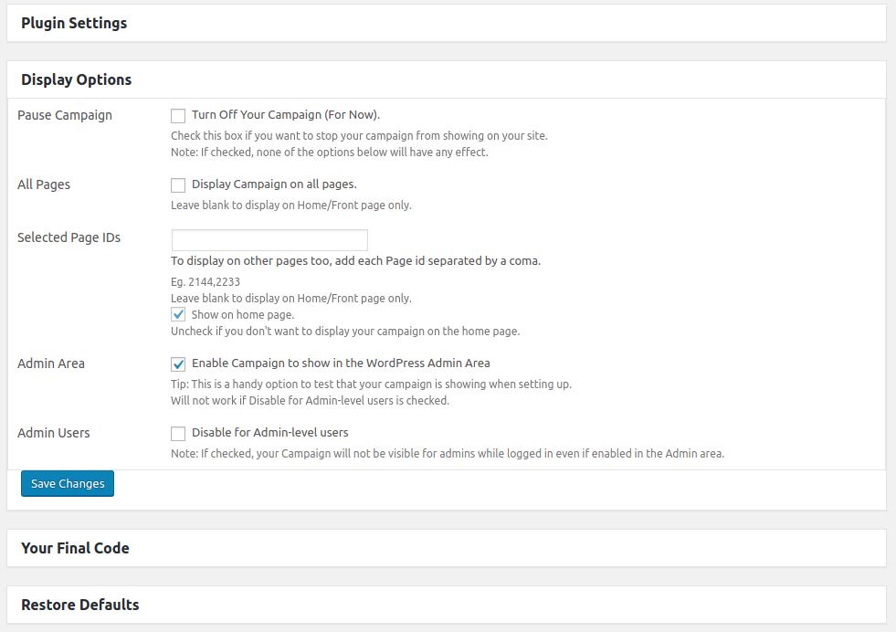 ChatterBot2WP screenshot display options