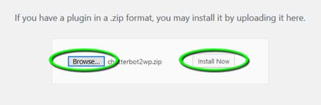 Step 3 - Click Browse then select the zip file on your computer, then click Install Now