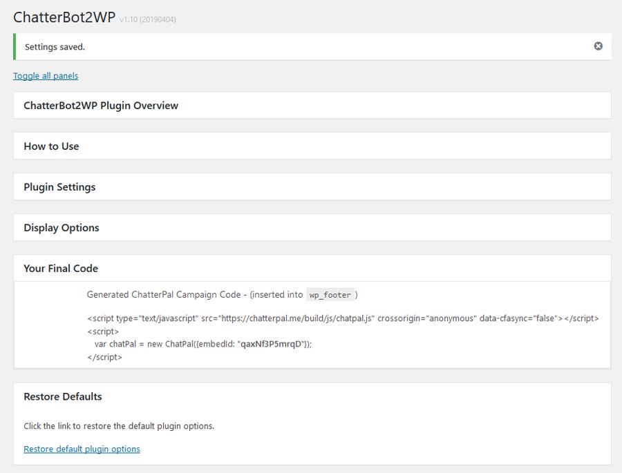 ChatterBot2WP screenshot final code restore